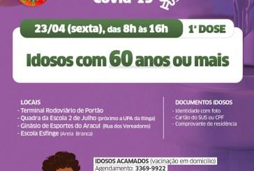 Vacinação contra a Covid-19 para idosos com 60 anos ou mais é retomada em Lauro de Freitas nesta sexta-feira (23)