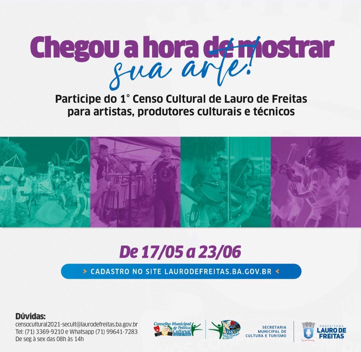 Lauro de Freitas realiza primeiro censo cultural de artistas, técnicos e produtores culturais