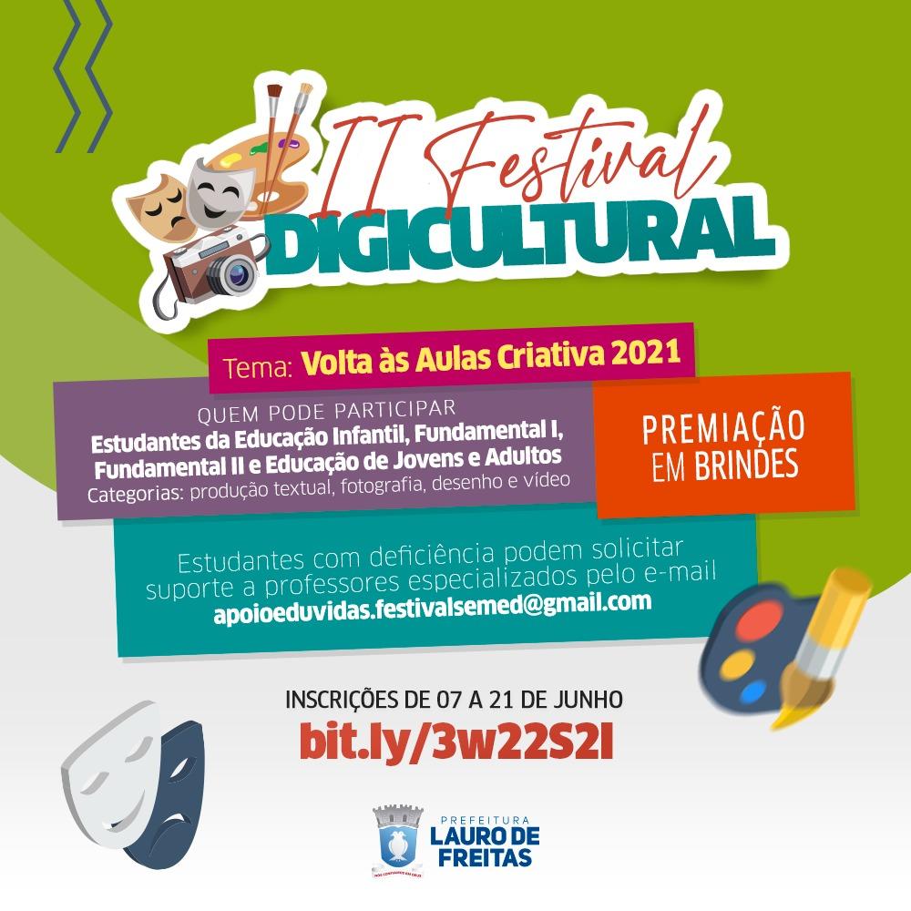 Vem aí a segunda edição do Festival Digicultural da rede municipal de Lauro de Freitas