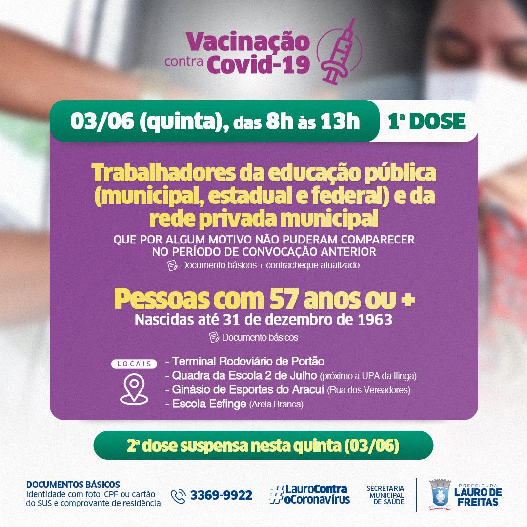 Lauro de Freitas mantém vacinação no feriado. Agora é a vez de pessoas com 57 anos ou mais