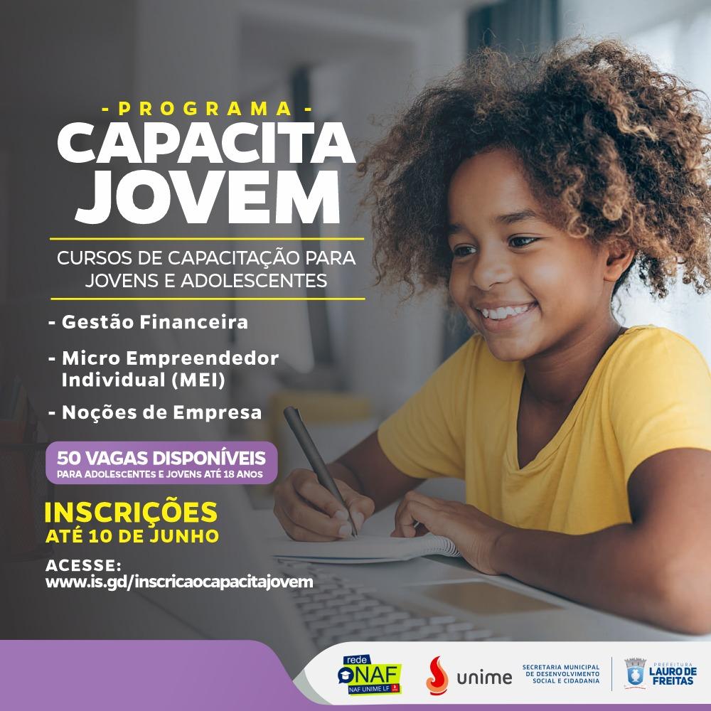 Programa promove cursos para jovens em situação de vulnerabilidade social. Inscrições vão até quinta-feira (10)