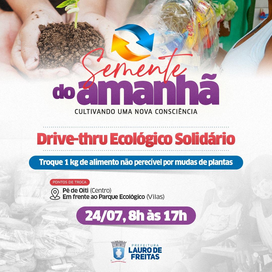 Drive-thru ecológico no sábado (24) troca muda de plantas por alimentos para instituições beneficentes de Lauro de Freitas