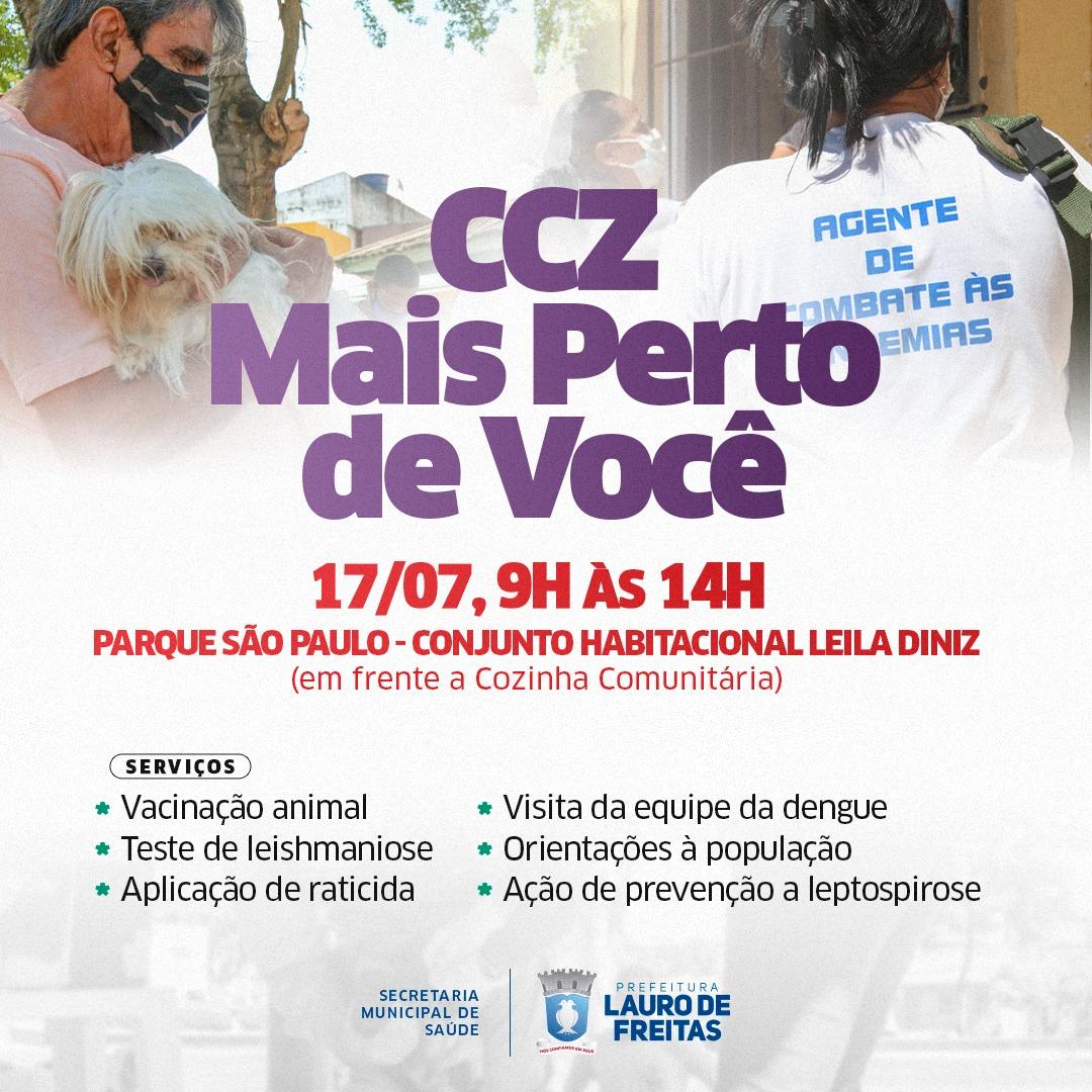 CCZ leva testes rápidos, vacinação animal e orientações para o Parque São Paulo neste sábado (17)