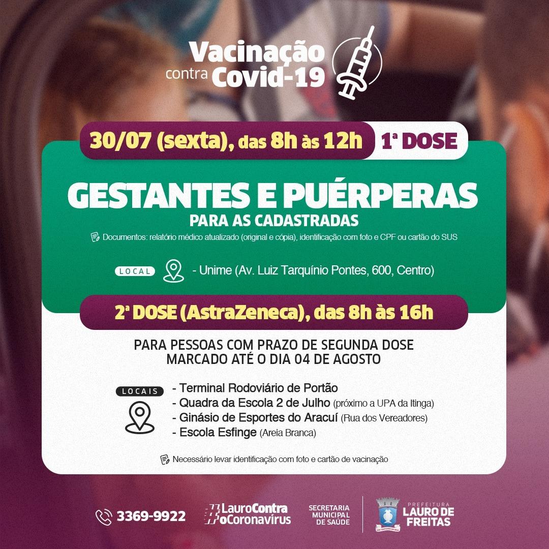 Lauro de Freitas dá sequência à vacinação contra a Covid-19 para grávidas e puérperas nesta sexta-feira (30)