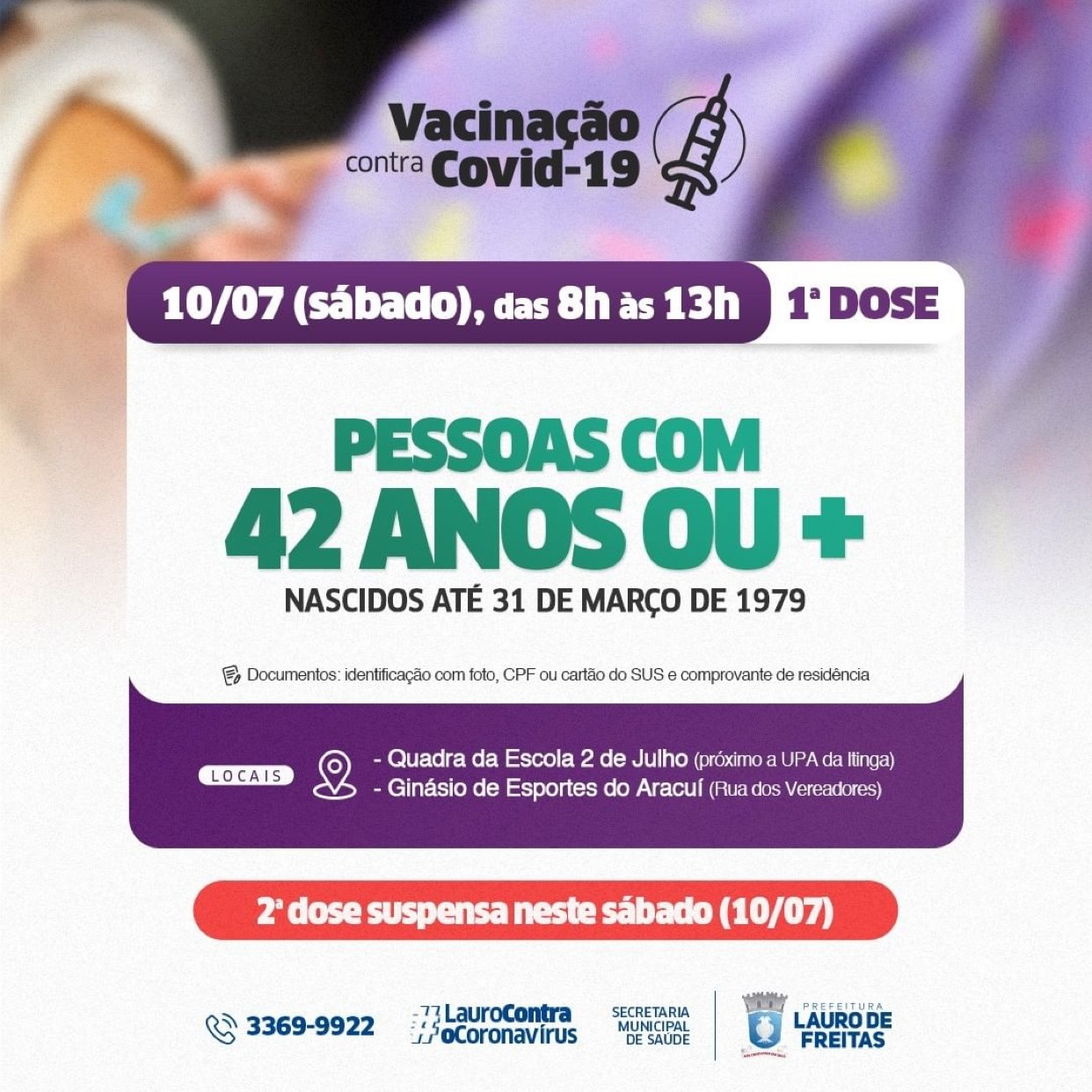 Neste sábado (10), Lauro de Freitas vacina público com 42 anos ou mais, nascidos até 31 de março de 1979