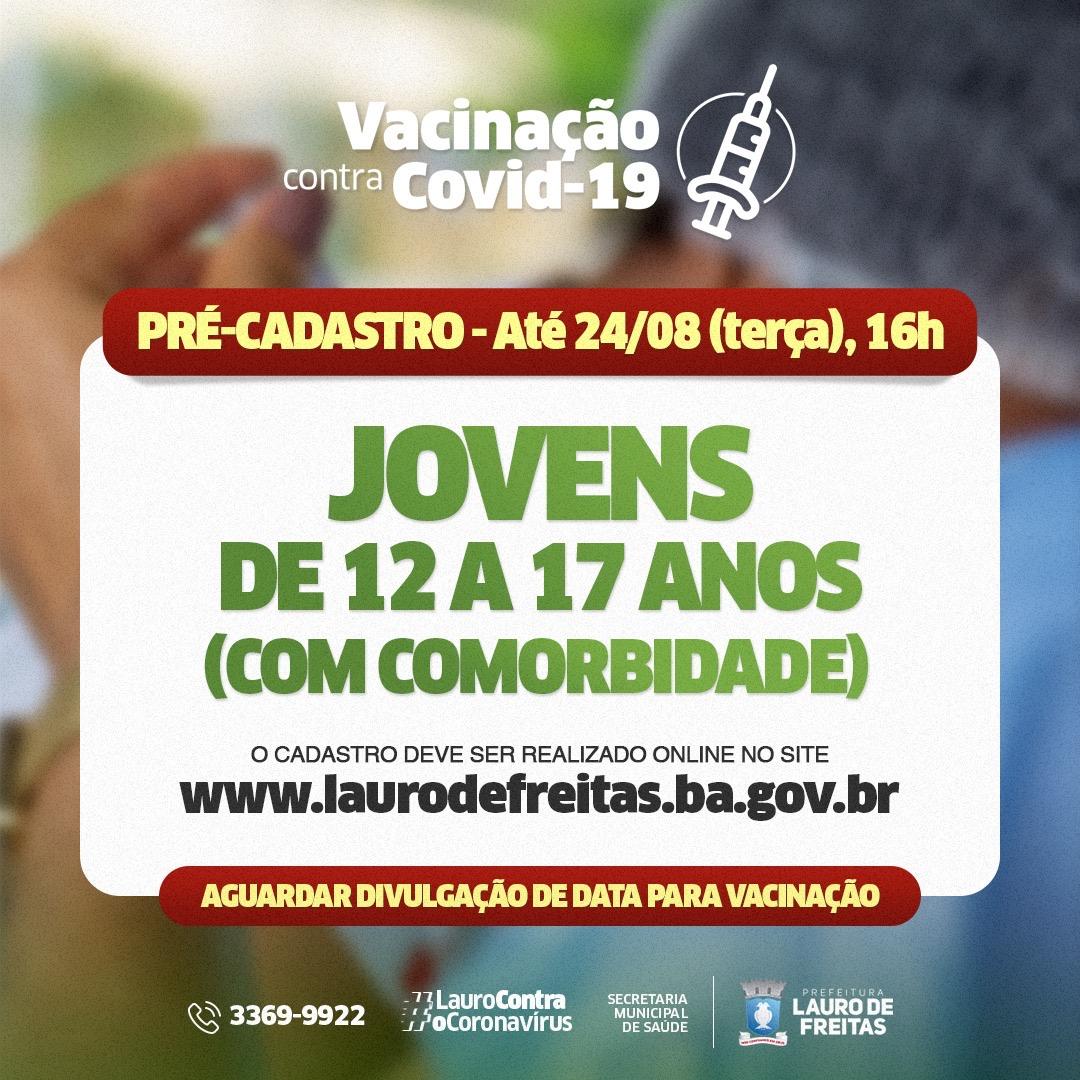 Lauro de Freitas abre pré-cadastro para vacinar crianças e adolescentes com comorbidades contra a Covid-19