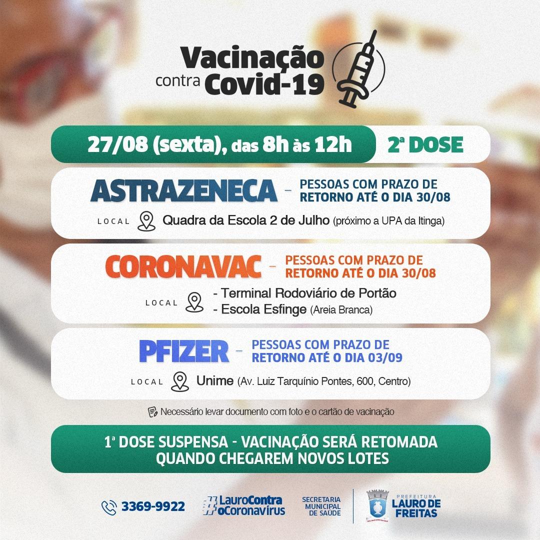 Lauro de Freitas convoca para 2ª dose da vacina contra a Covid-19 nesta sexta-feira (27)