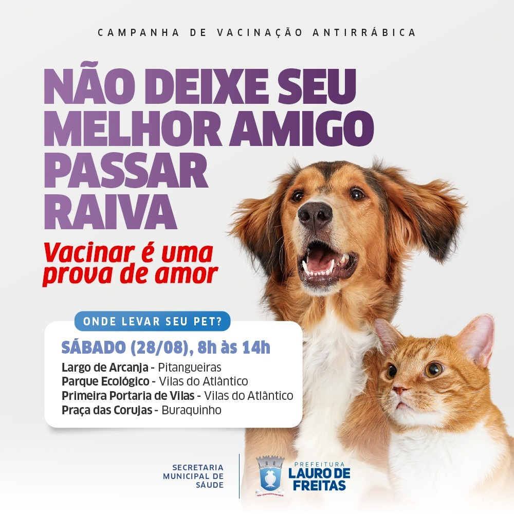 CCZ leva vacinação antirrábica para os bairros de Pitangueiras, Buraquinho e Vilas do Atlântico neste sábado (28)