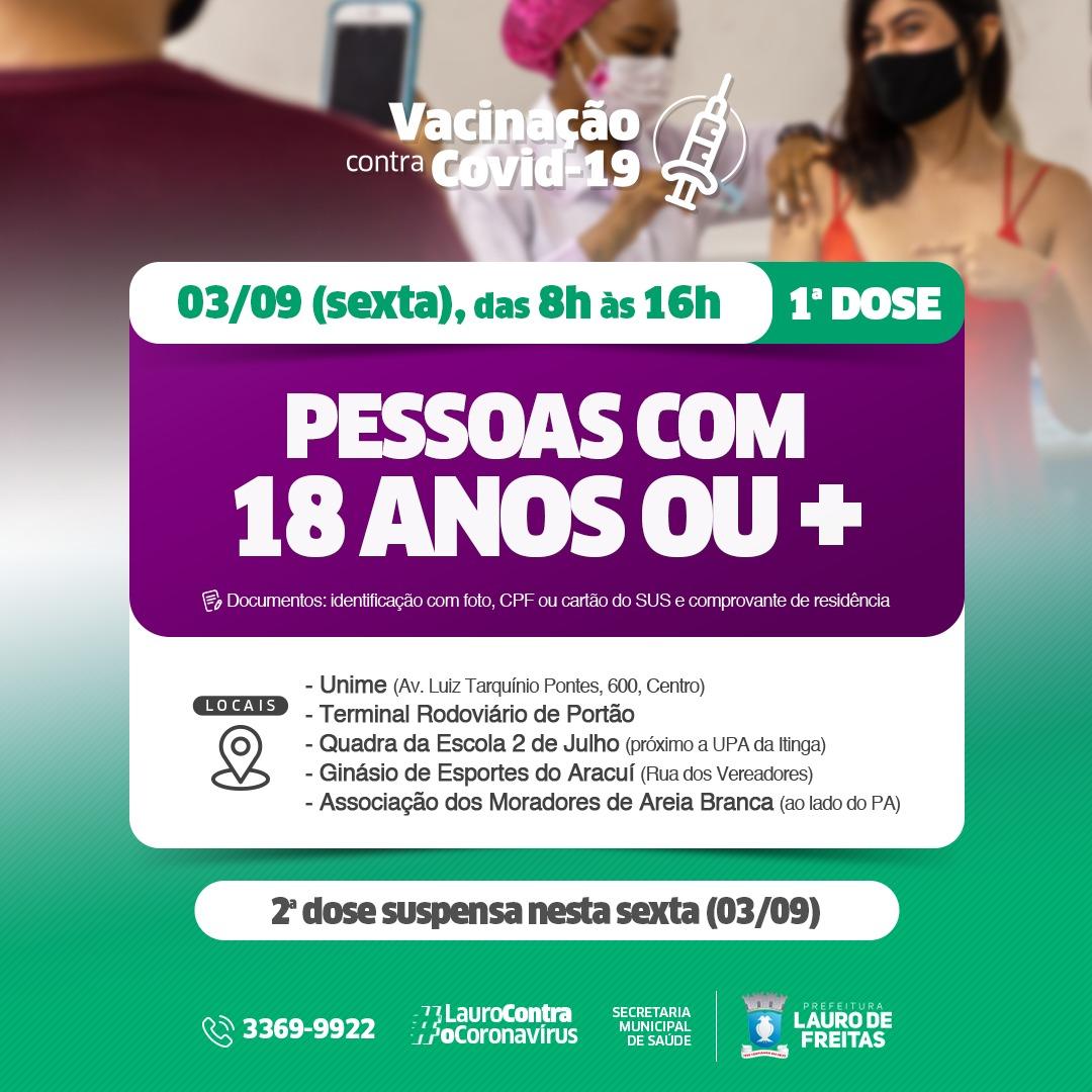 Lauro de Freitas vacina jovens de 12 a 17 anos com comorbidades já cadastrados e de 18 anos ou mais, nesta sexta-feira (3)