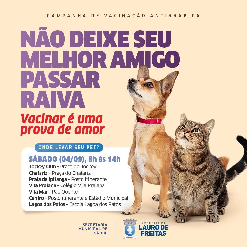 Vacinação antirrábica continua neste sábado (4) em Lauro de Freitas. Equipes da CCZ estarão em quatro bairros