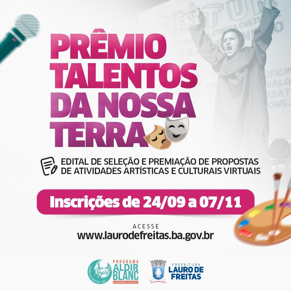 Lauro de Freitas abre inscrições para o Edital 'Talentos da Nossa Terra' com prêmios de até 10 mil reais para artistas locais