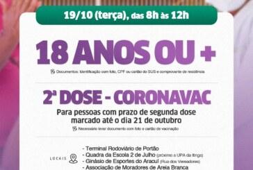 Lauro de Freitas promove repescagem da vacina contra Covid-19 e aplicação da 2ª da Coronavac nesta terça-feira (19)