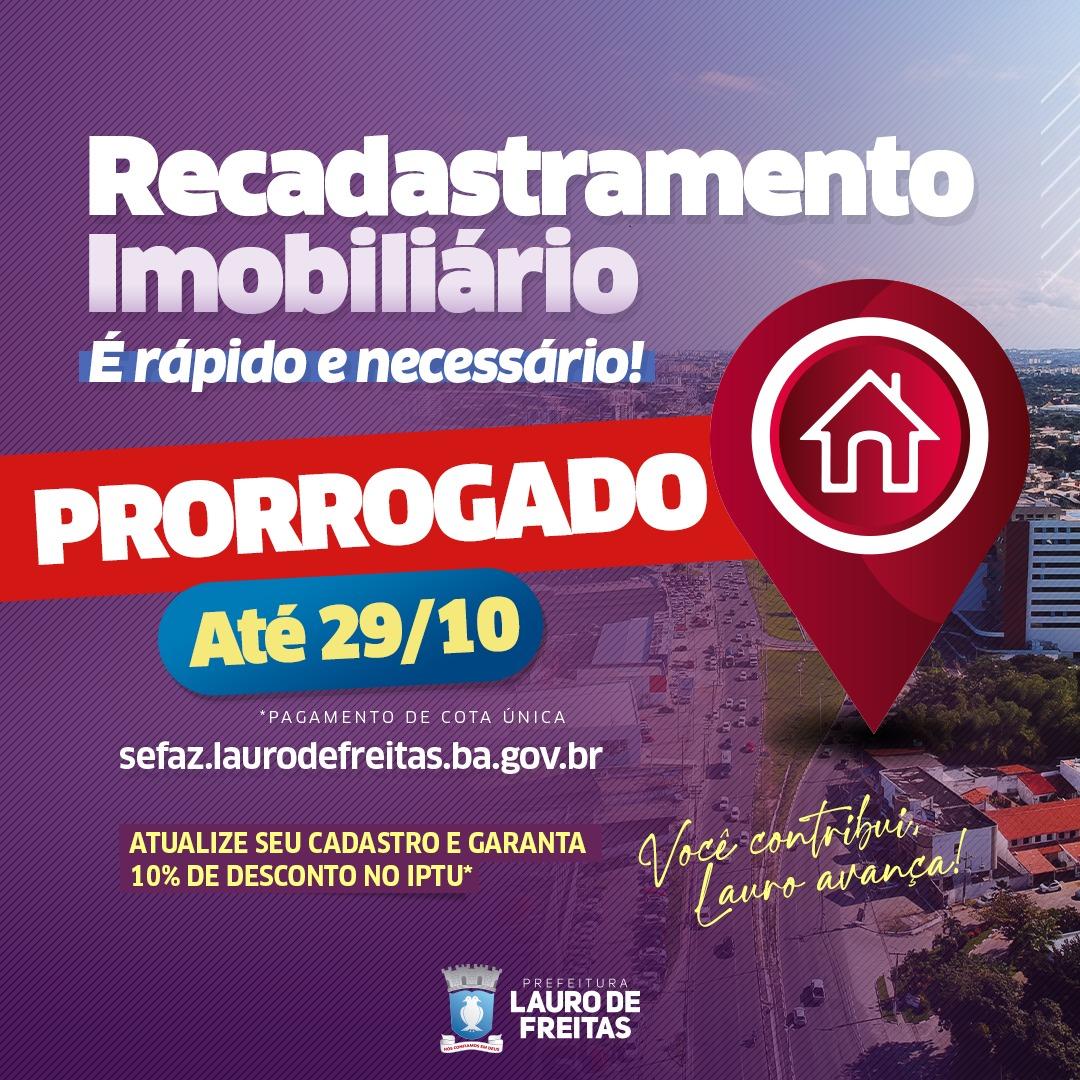 Prefeitura de Lauro de Freitas prorroga recadastramento imobiliário e Programa de Regularização de débitos até 29 de outubro