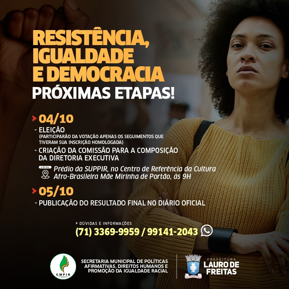 Eleição do Conselho de Promoção da Igualdade Racial de Lauro de Freitas será por voto secreto na próxima segunda (04)