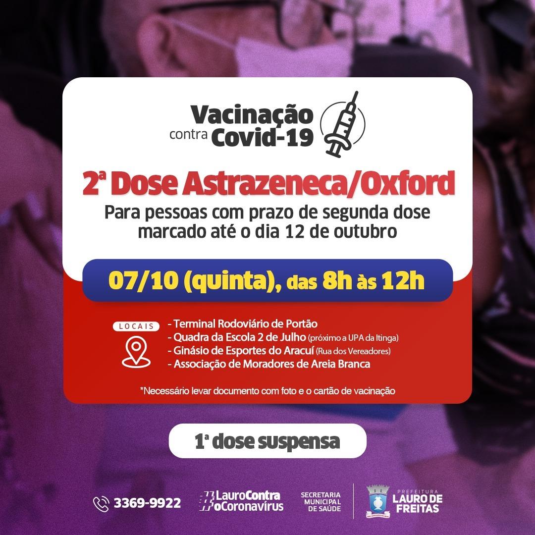 Lauro de Freitas aplica 2ª dose da Astrazeneca nesta quinta-feira (07)