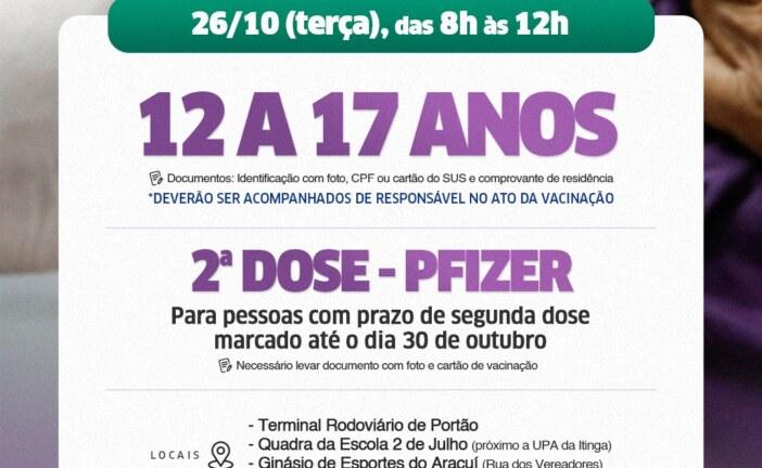 Lauro de Freitas aplica 2ª dose da Pfizer e 1ª dose em jovens de 12 a 17 anos nesta terça-feira (26)