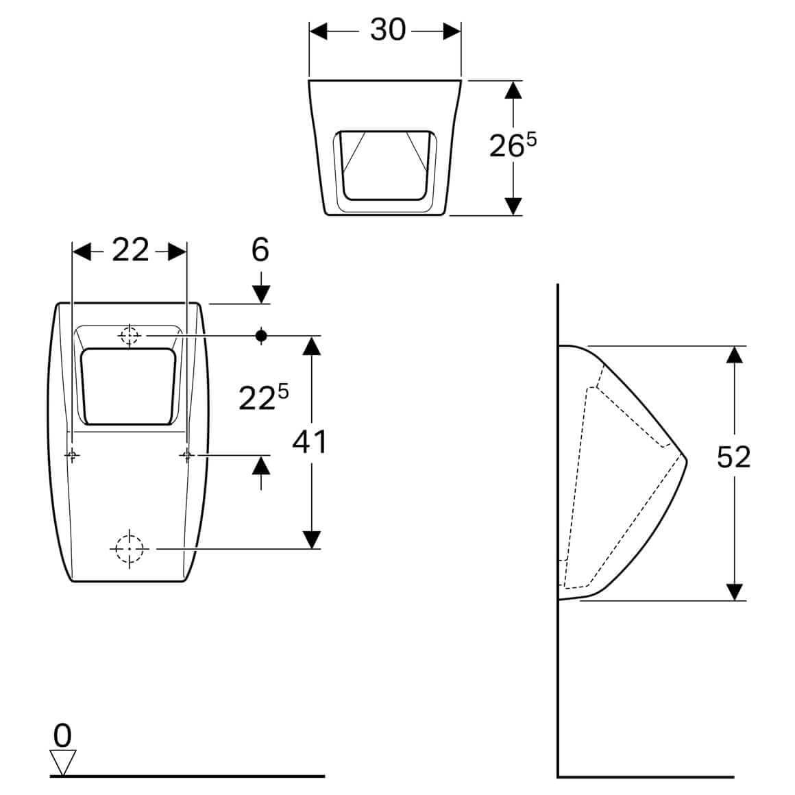 Geberit Icon 300 X 265mm Urinal For Concealed Urinal Flush