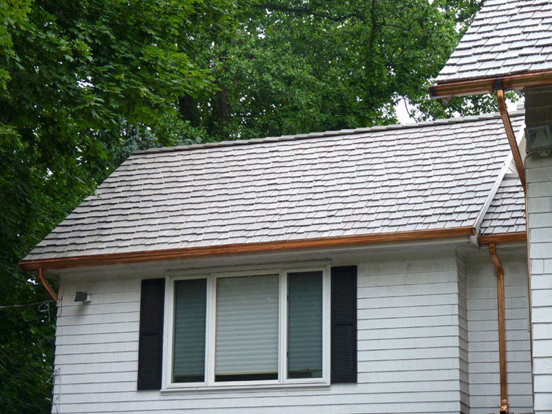 DaVinci Woodshake Roof & Standing Seam Copper Gutter Installation