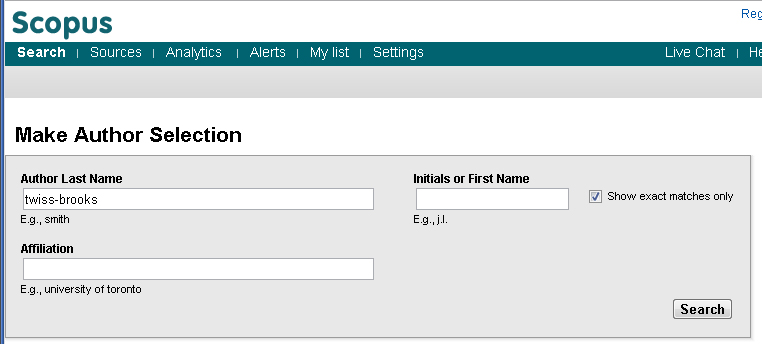 Scopus author lookup screen