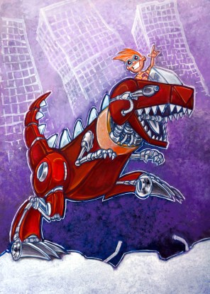 """Mechasaurus Wrexx,"" acrylic"