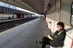 waiting for the very efficient Metro in Danube City
