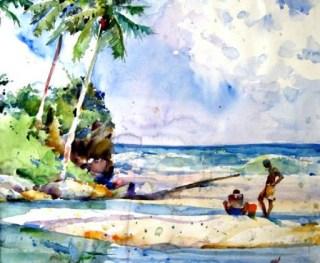 Acuarela de Charles Reid: Blanchiesseuse, Fishing Pool, 22.5 x 25.5