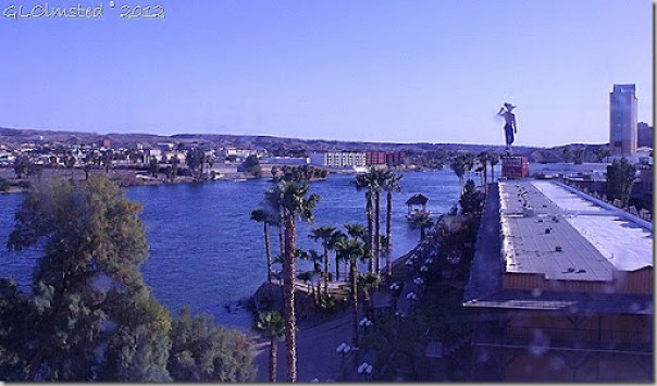 View of Colorado River from room window at the Colorado Belle Laughlin Nevada