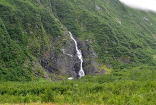 waterfalls everywhere coming off the glaciers