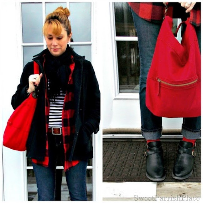 buffalo plaid with stripes, skinny jeans and booties6