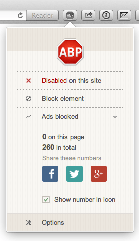 Adblockplus disabled