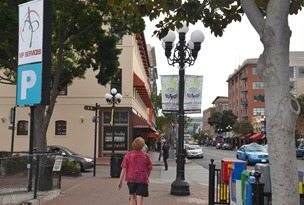 exploring the GasLamp District of San Diego