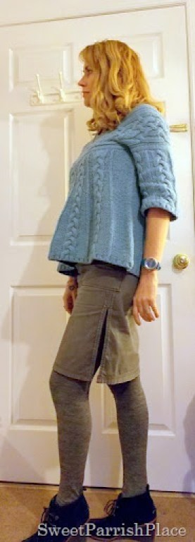 grey skirt blue sweater booties2
