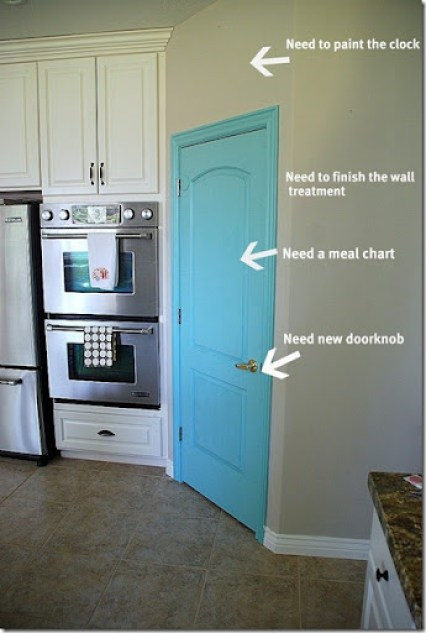 turquoise pantry door needs