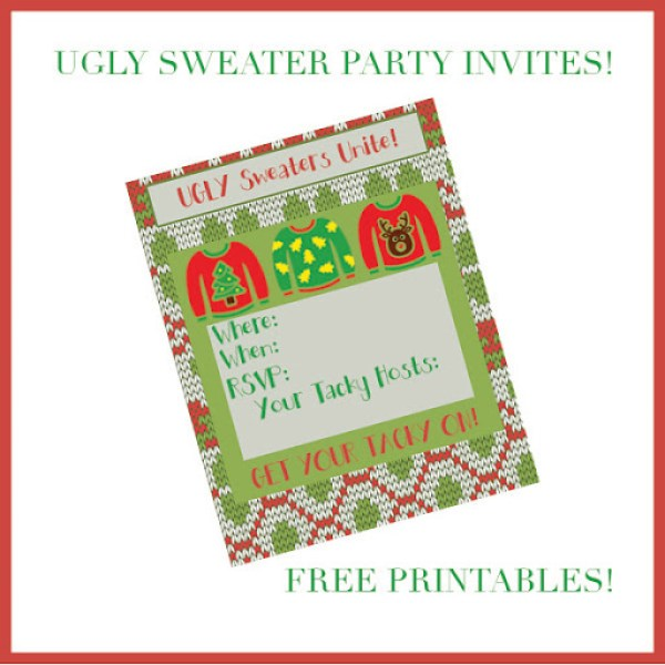Free Printable Party Invitations for your Ugly Sweater Theme Party. Enjoy these fun invites from Major Hoff Takes A Wife.