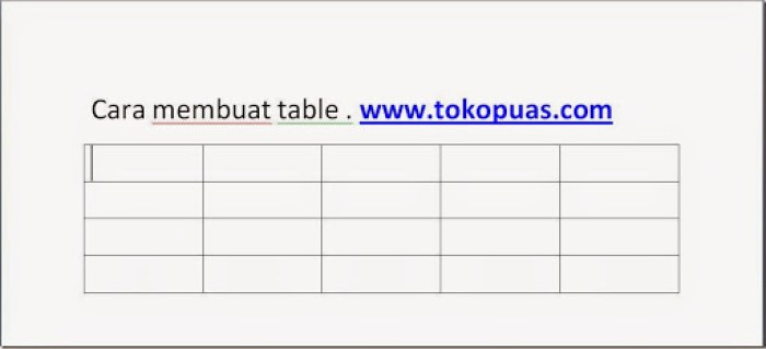 cara membuat table 1