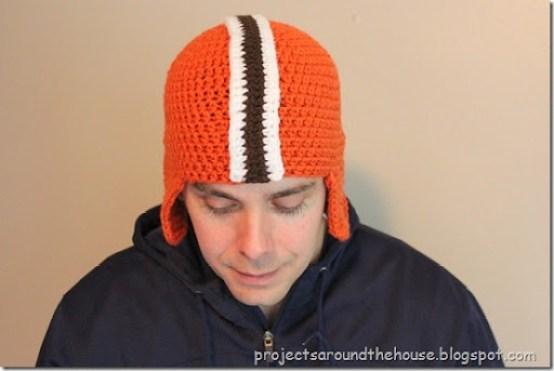 Crochet football helmet hat free pattern, Browns