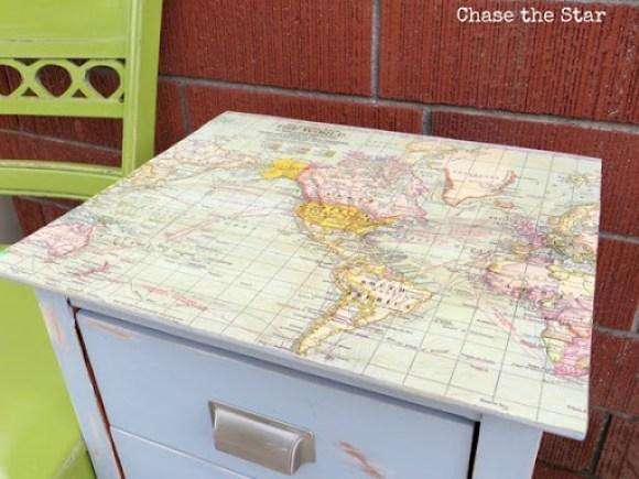 map decoupaged nightstand