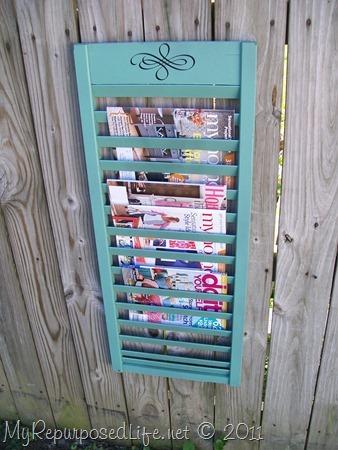 repurposed shutter magazine rack