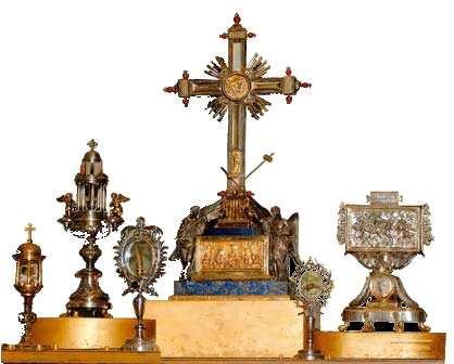 Relíquias da Basílica de Santa Cruz em Roma