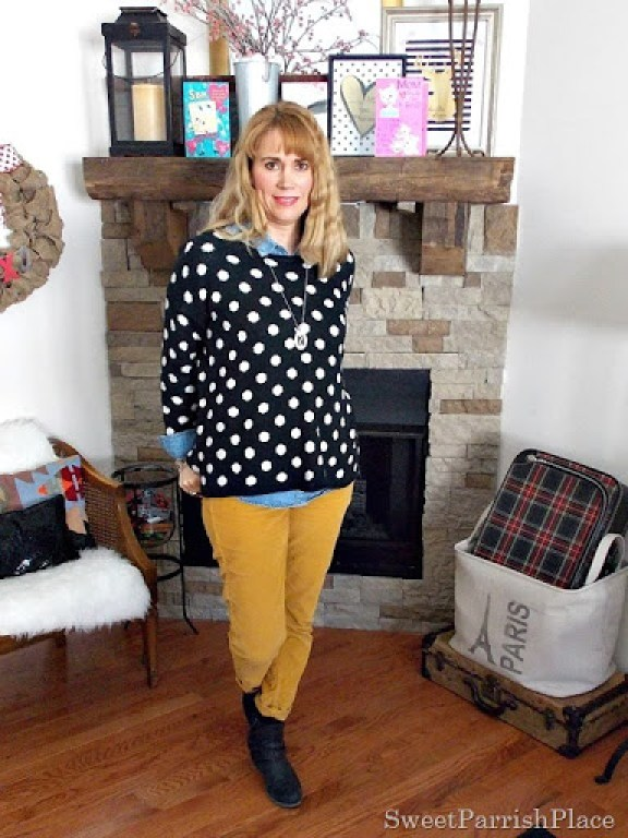 Mustard pants, black and white polka dots with brown booties1