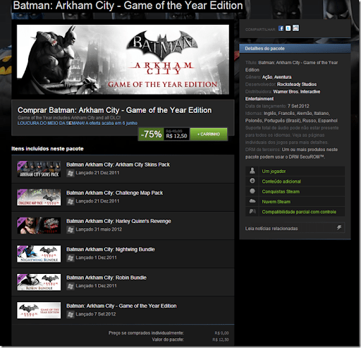 Promoção Steam - Batman: Arkham City - Game of the Year Edition