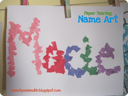 Sweet Peas And Bumblebees Paper Tearing Name Art