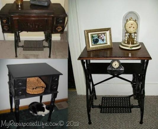 antique white trestle sewing machine repurposed