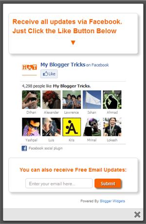 Facebook Likebox popup