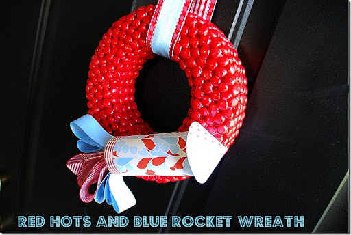 red hots and blue rocket wreath