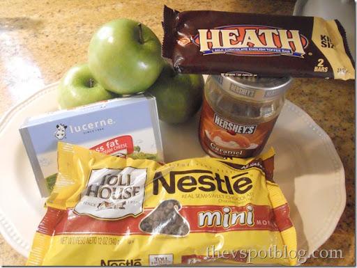 apples, dessert, cream cheese, ingredients, heath bar, chocolate