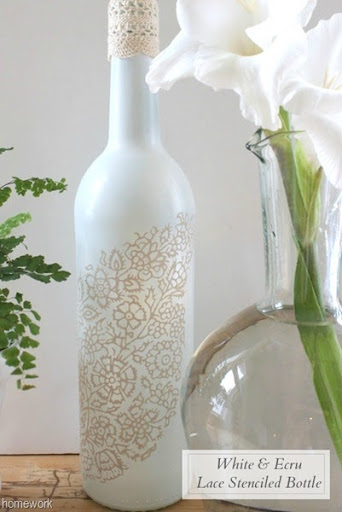 White & Ecru Lace Stenciled Bottle via homework (5)B