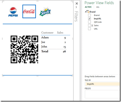 QR Code along with other visualizations in Power View