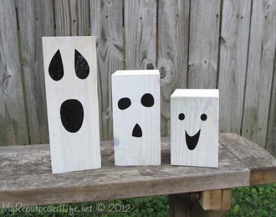 4x4 whitewashed Halloween Ghosts