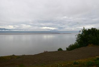 Knik Arm looking southwest toward Anchorage from Knik